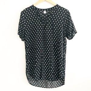 Old Navy Black Lace Up Ikat Tunic T-Shirt